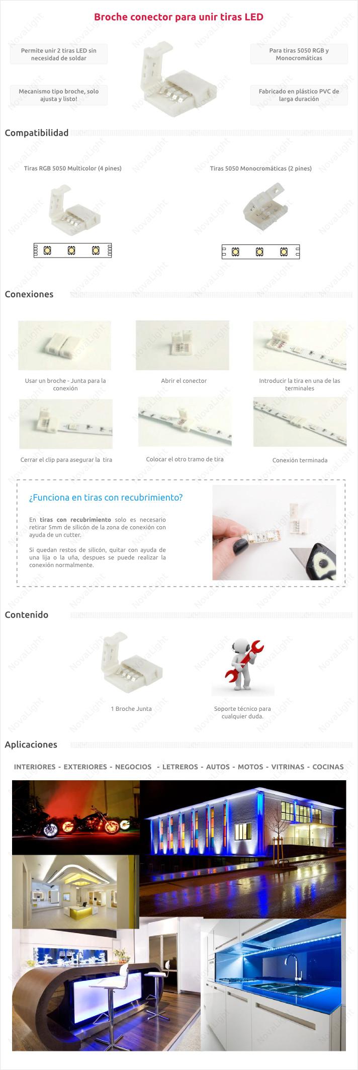Broche Junta - Adaptador para acoplar o unir tiras LED RGB 5050 o 3528 sin necesidad de soldar