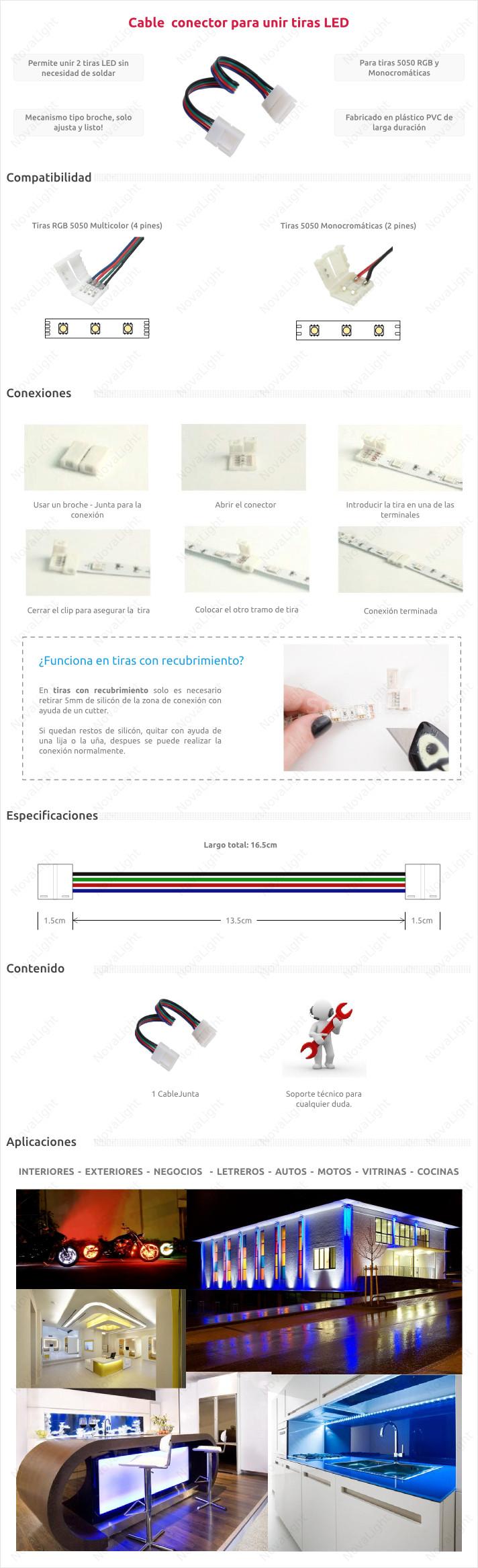 Cable junta para acoplar 2 tiras LED RGB 5050 o 3528 sin necesidad de soldar