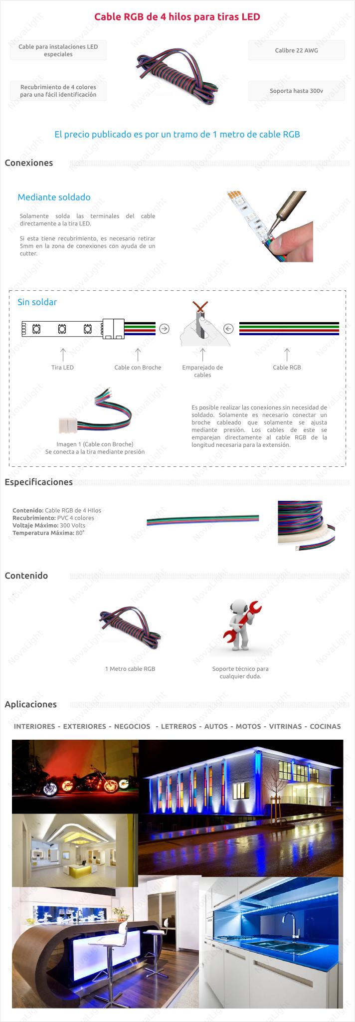 Cable RGB de 4 lineas para tiras, modulos y otros productos LED RGB Multicolor