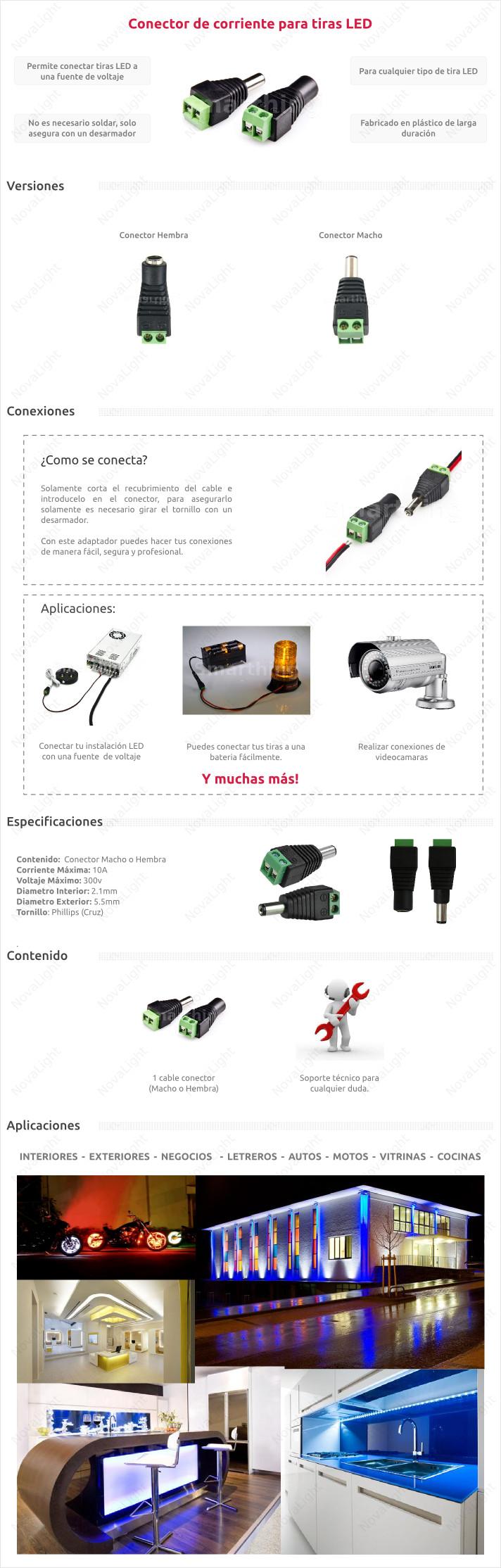 Conector para fuente de alimentación para controladores y tiras LED