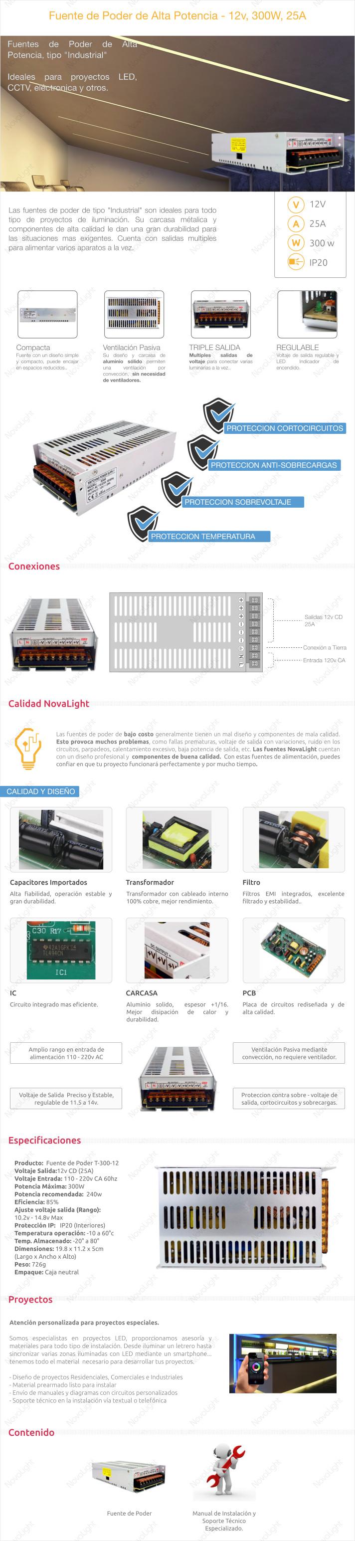 Descripcion de Producto, Fuente de Poder 12v 30W, 25A - TIpo Industrial ideal para proyectos LED y similares CCTV