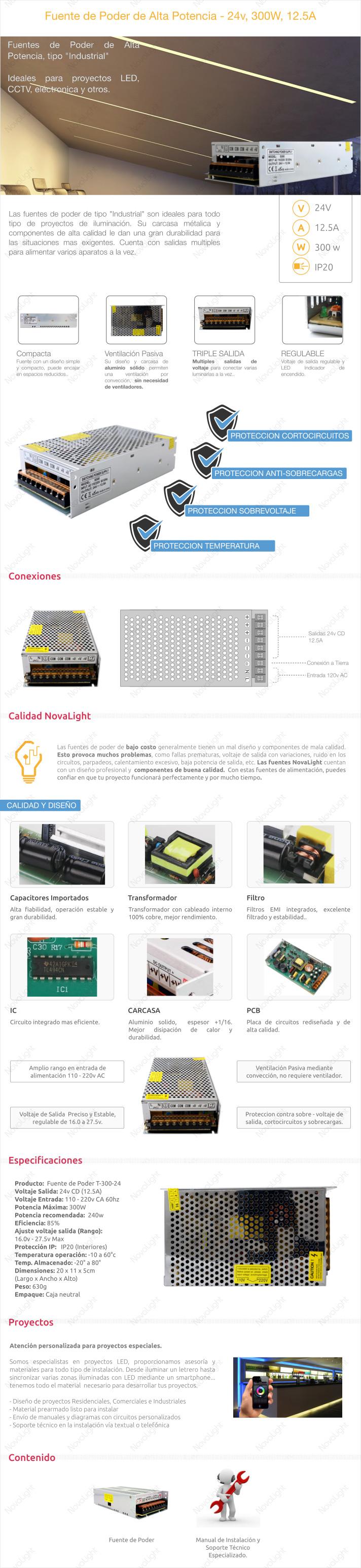 Descripcion de Fuente de Poder 24v 300W, ideal para proyectos con LED y otras aplicaciones.