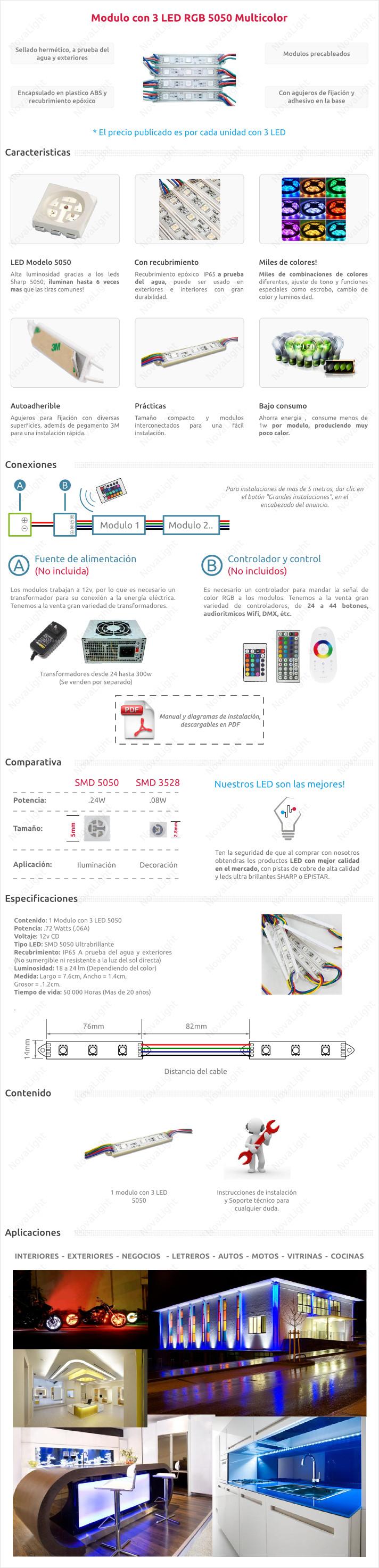 Modulo de 3 LED 5050 RGB Multicolor con Recubrimiento
