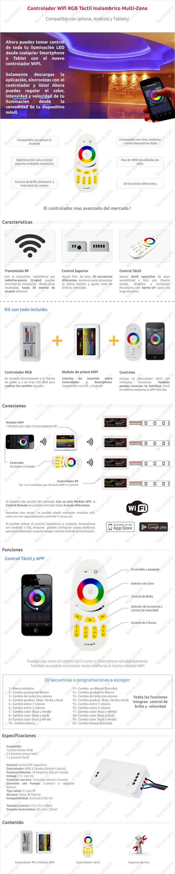 Descripción del controlador WIFI compatible con Iphone y Android