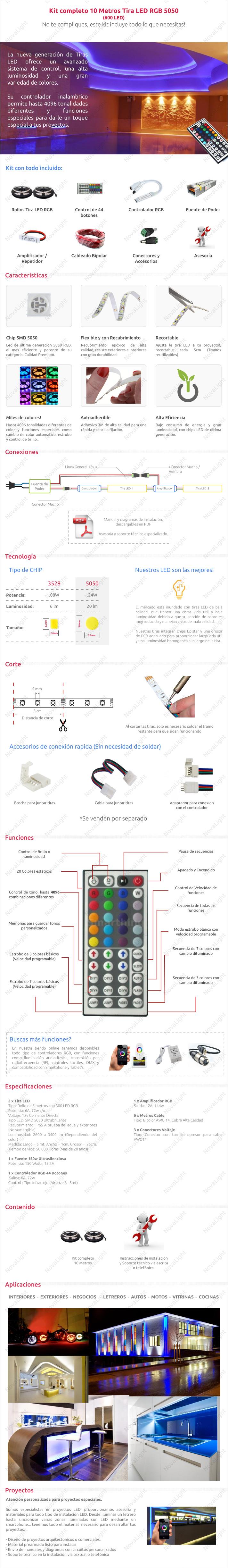 Descripción del articulo de tira LED RGB 10 metros Kit Completo