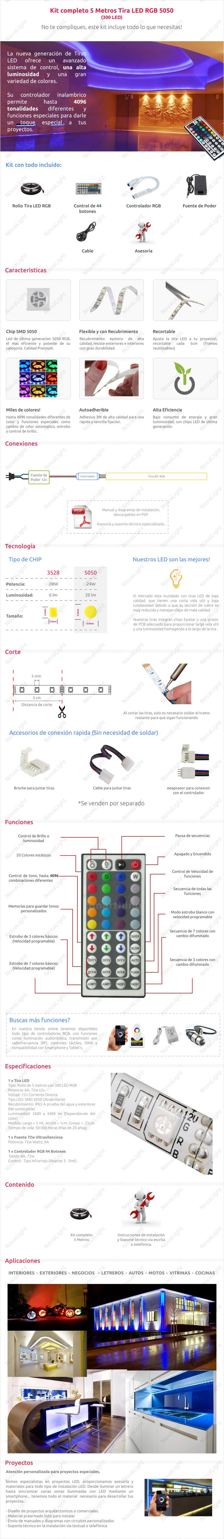 Descripción del articulo de tira LED RGB 5 metros Kit Completo