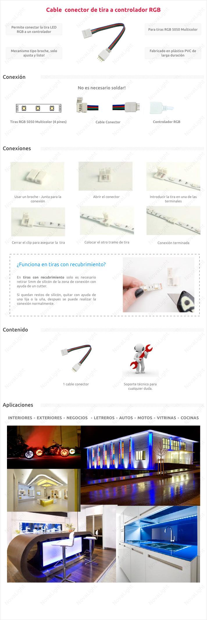 Cable o conector de tira LED a Controlador RGB, para modelos 5050 y 3528,  sin necesidad de soldar.