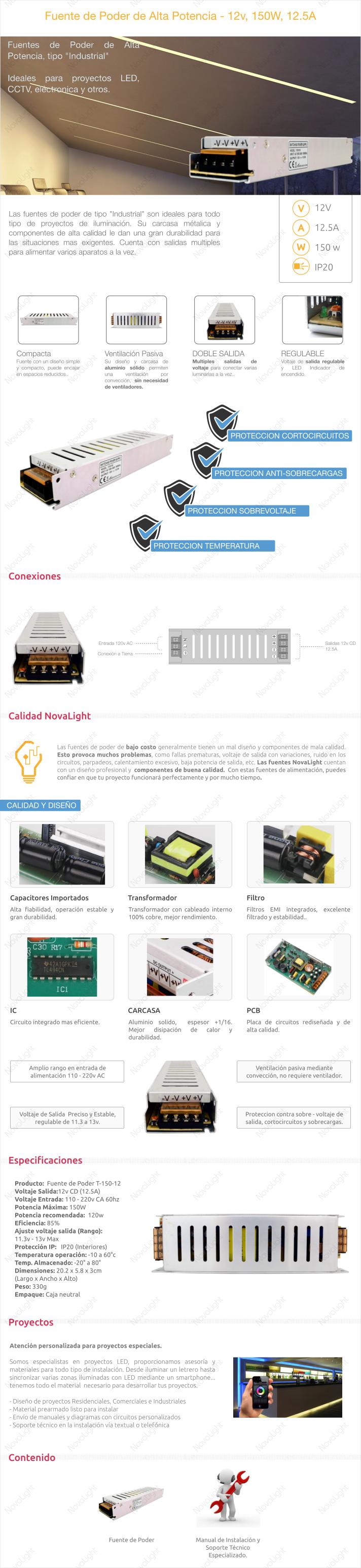Descripcion de Producto - Fuente de Poder de Alta Potencia, 150W 12v - Para proyectos LED y CCTV
