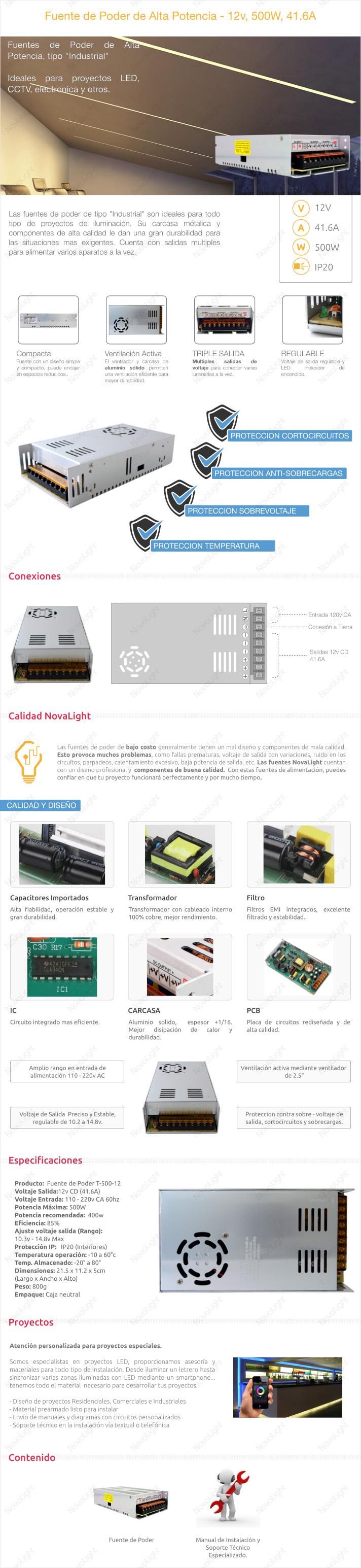 Descripcion de Fuente de Poder 500W, alta potencia para proyectos iluminacion LED
