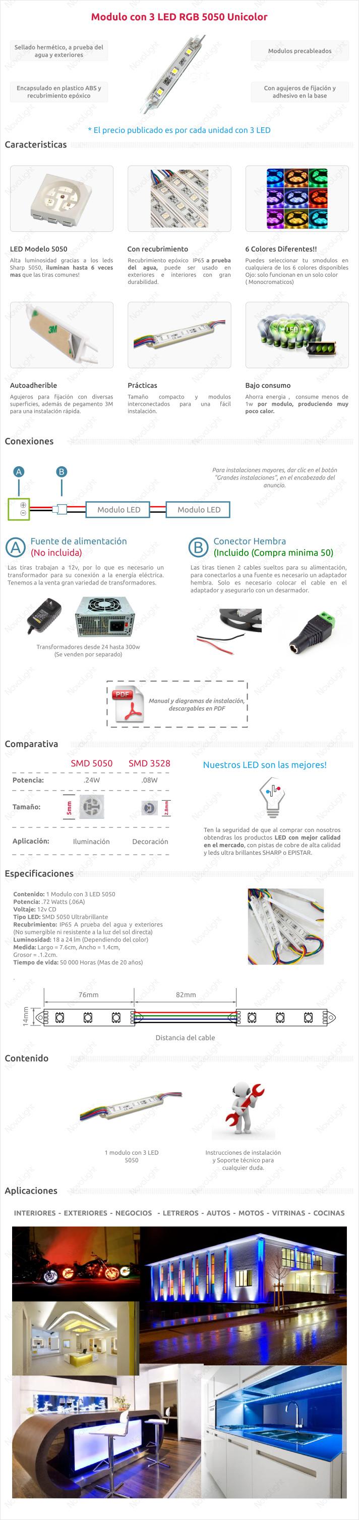 Descripción del modulo LED 5050 Unicolor