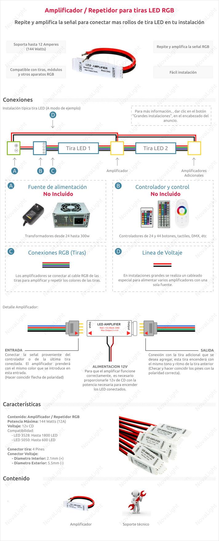 Amplificador o Repetidor para tiras LED RGB, ideal para instalaciones de varias tiras o modulos LED