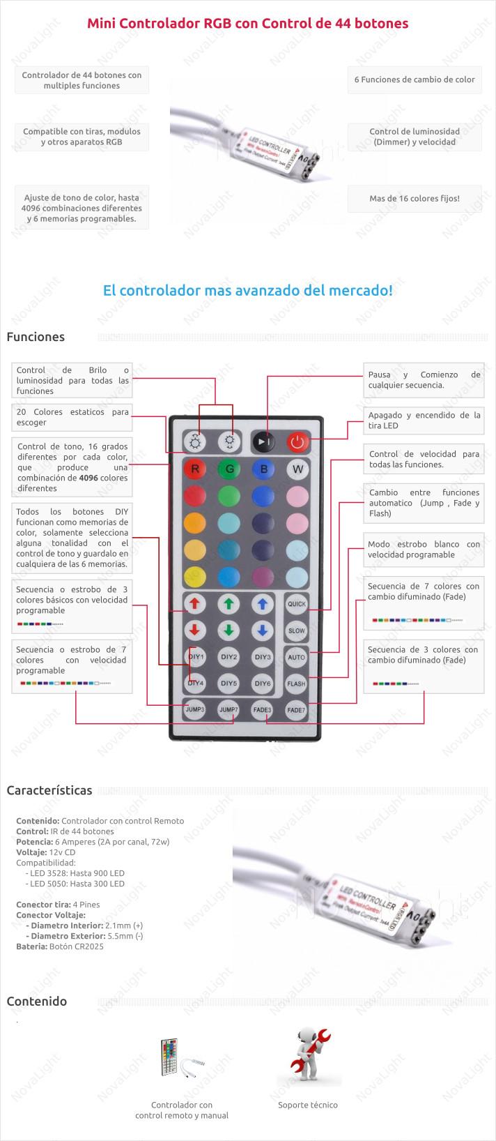 Controlador con control remoto de 44 botones para tiras, modulos y otros sistemas LED RGB Multicolor