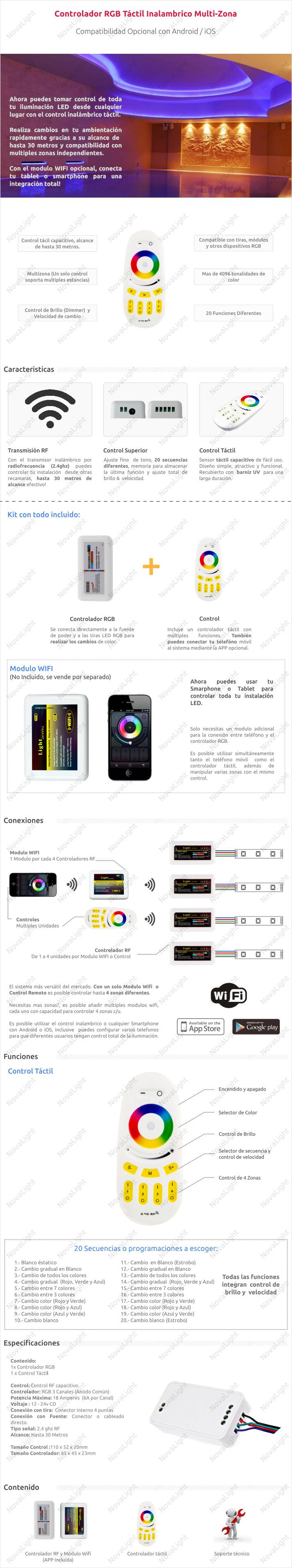 Descripción del producto controlador LED RGB por Radiofrecuencia Táctil
