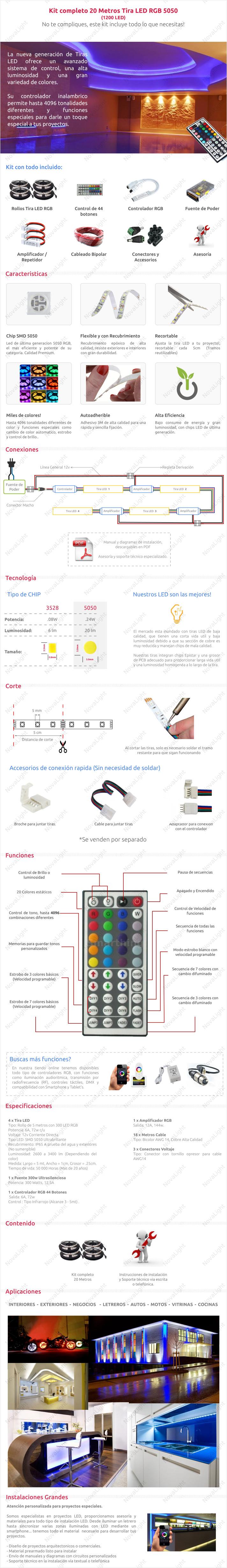 Descripción del articulo de tira LED RGB 20 metros Kit Completo