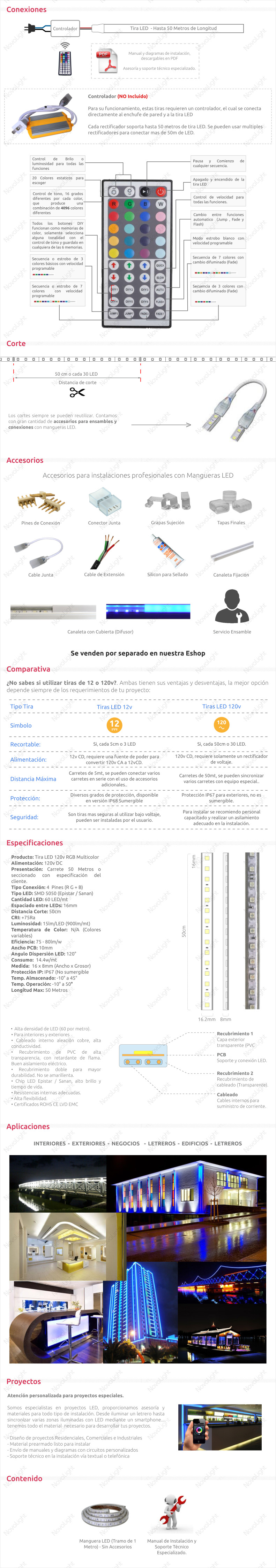 Manguera con 60 LED /mt 5050 RGB Multicolor – Con Recubrimiento IP66 120v (Hasta 50mt)