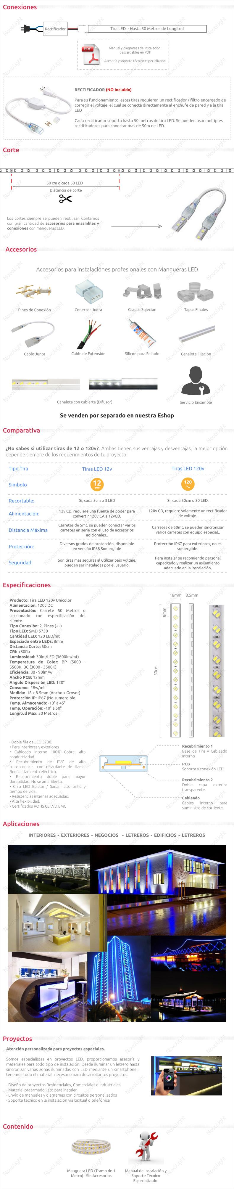 Manguera con 120 LED /mt 5730 Unicolor – Con Recubrimiento IP66 120v (Hasta 50mt)