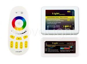 Detalle del enlace Wifi, controlador RGB y mando táctil