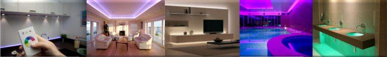Aplicaciones de Tiras LED - Iluminacion decorativa en cocinas, recamaras, sala, piscinas y otros espacios.