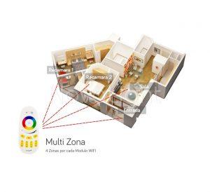 El control permite manipular multiples zonas al mismo tiempo