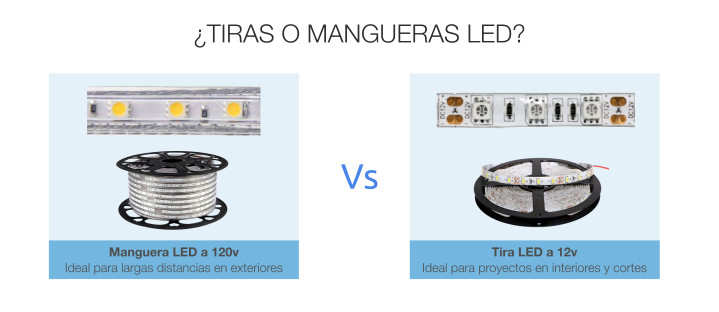 Principales diferencias entre las tiras LED 12v y las Mangueras LED alto voltaje 120v